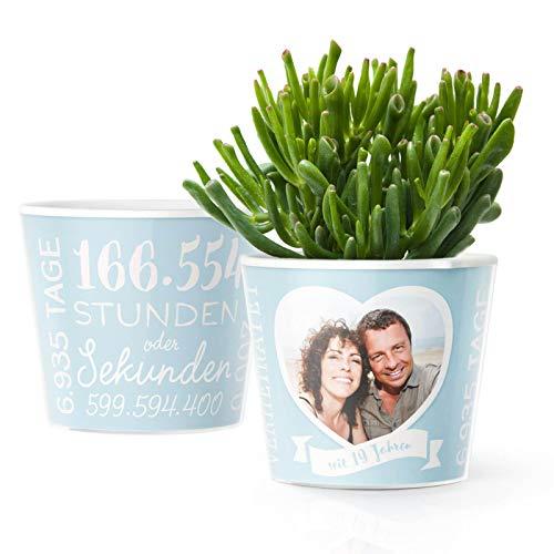 19. Hochzeitstag Geschenk – Blumentopf (ø16cm) | Geschenke zur Perlmutthochzeit für Mann oder Frau mit Herz Bilderrahmen für 1 Foto (10x15cm) | Glücklich Verheiratet - 19 Jahre