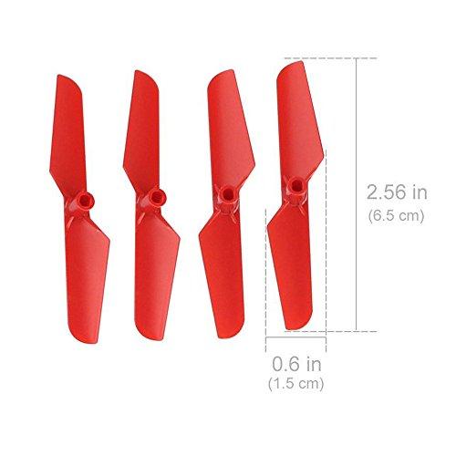 Darringls Hélice,4 Piezas Hélice Propulsor para Syma X11 Drone de Repuesto y la Hoja Principal Hélices (Rojo)