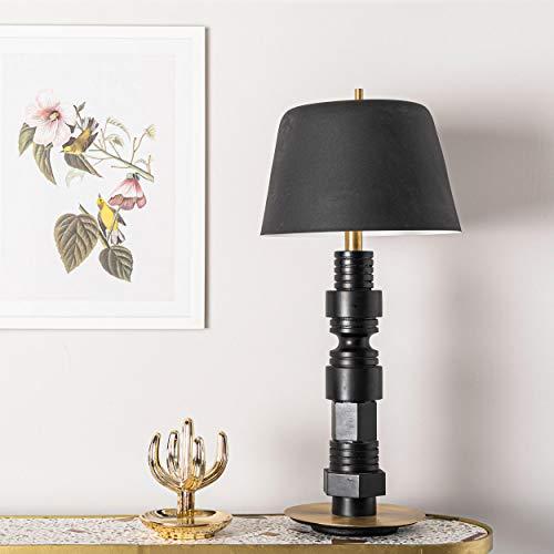 Homemania Lámpara de mesa Belle, color negro, oro, hierro, madera, latón, 29 x 29 x 60 cm, 1 x E14, 25 W