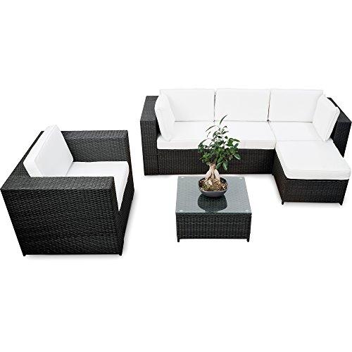 XINRO® erweiterbares 18tlg. Lounge Set Polyrattan kaufen - schwarz - Sitzgruppe Garnitur Gartenmöbel Rattan Lounge XXL - inkl. Lounge Sessel + Ecke + Hocker + Tisch + Kissen