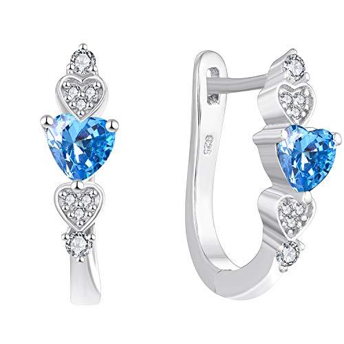 YL Pendientes de aro de plata de ley 925 con circonita azul en forma de U Pendientes con bisagras para mujer