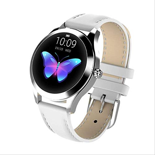 Ip68 Waterdicht Smart Horloge Dames Mooie Armband Hartslagmeter Slaapmonitoring Smartwatch Connect Ios Android Leer Wit