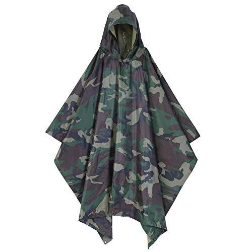 Wakects Regenponcho, wasserdicht, mit Kapuze, Camouflage, Poncho für Regenponcho, Verwendung als Sonnensegel und Picknickdecke