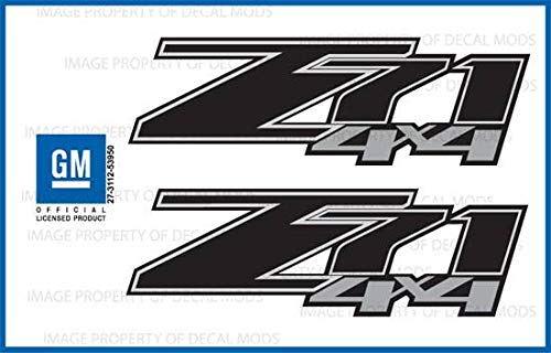 Decal Mods Z71 4x4 Decals Stickers fits Chevy Silverado Black Blackout - FBLK (2007-2013) Bed Side 1500 2500 HD (Set of 2) [Officially Licensed, Made in The USA, Brand