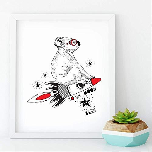 LWJZQT Koala vliegen op het raketje voor de maan muurkunst printen, leuke koala-canvas schilderij naar huis babykamer cartoon decoratie