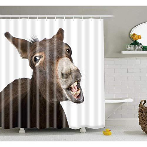 DOOPVM Digitaldruck Duschvorhang Lustiger Esel 3D Vorhang Umweltfre&lich Waschbarer Anti-Schimmel Anti-Bakteriell Schimmelresistent Polyester mit 12 Stück-120 x 180cm