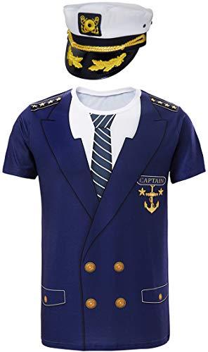 COSAVOROCK Hombre Camisetas de Capitán con Gorra (M, Navy)