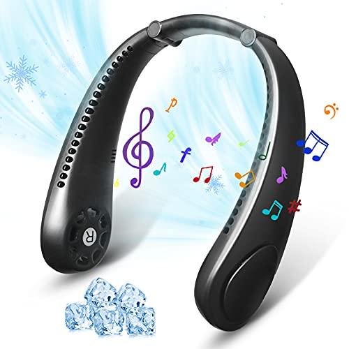 ALPMOSN Neck Fan- 2021 Neck Air Conditioner with Bluetooth Speaker, 360° Cooling, Low Noise, Leafless, Headphone Design, USB Powered Desk Fan, Adjustable 3 Speeds(Black)