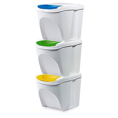Kunststoff Mülltrennsystem Mülleimer Mülltrenner Abfalltrenner 3-fach 3x25 L stapelbar weiß Glas Papier Plastik