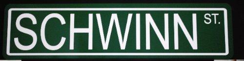 METAL STREET SIGN SCHWINN STREET 6X24 BIKE BICYCLE PEA PICKER STINGRAY BLACK PHANTOM ORANGE KRATE VINTAGE BAR GARAGE SHOP HOME OFFICE MAN CAVE RESTAURANT WALL ART GIFT COLLECTION -  Motown Automotive Design, SchwinnSign