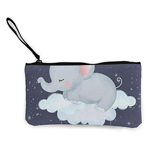 Billetera de Lona para Dormir con Elefante bebé Exquisitos monederos El Monedero de Lona pequeño se Utiliza para Guardar Monedas, identificación y Otros