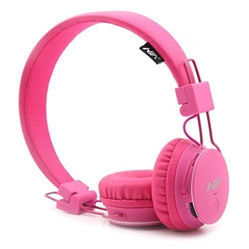Kids Wireless Headphones, GranVela X2 Lightweight Foldable Kids Adults Volume limiting Headphones with FM Radio, TF Card Player, Mic,Detachable Cable and Share Port,for iPad and Smartphones (Pink)