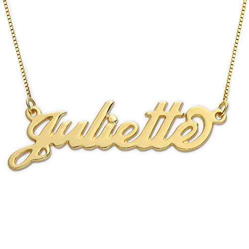 MyNameNecklace Small Name Necklace - Small Carrie Pendant - Custom Jewelry (18.00, 10k Yellow Gold)