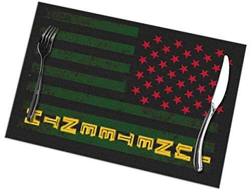 June 16th - Juego de 6 manteles individuales con bandera americana, lavables, antideslizantes, resistentes a las manchas, para mesa, antideslizantes, de 12 x 18 pulgadas