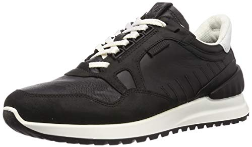 ECCO Mens Astir Sneaker, Schwarz (Black White), 42 EU