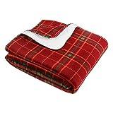 Berkshire Blanket Christmas VelvetLoft & Sherpa Reversible Super Soft Cozy Warm Throw Blanket, Warm Wine Plaid, 60' x 70'
