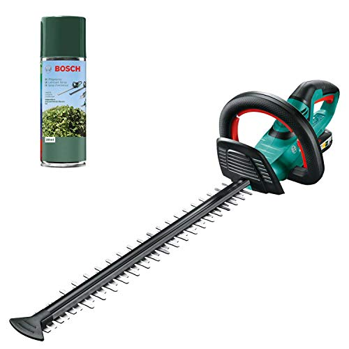 Bosch AHS 50-20 LI Tagliasiepi, 1 batteria, sistema 18 volt, lunghezza di taglio 50 cm, distanza lama 20 mm, in scatola + Accessori Per Tagliasiepi Lubrificante spray antiruggine ml 250