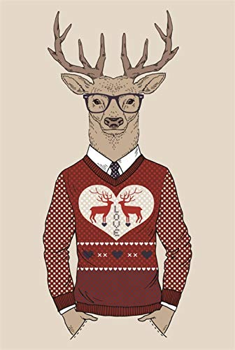 Reindeer illustration 1000 Piece Puzzle Wooden Jigsaw Puzzles for Adults Kids, Large Educational Intellectual Paintings Puzzle Game Toys Gift for Home Entertainment Toys Decoration Jigsaw
