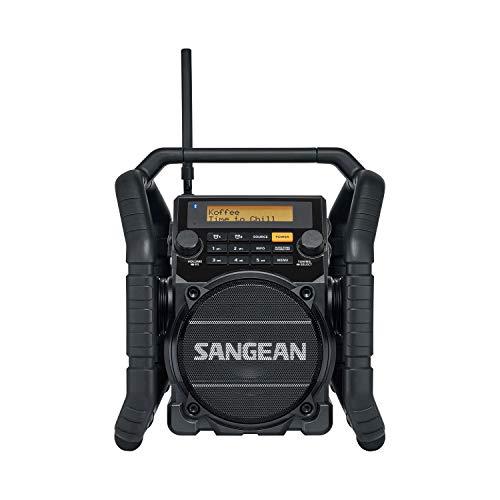 Sangean U-5DBT Baustellen Radio mit Bluetooth | Stoßfestes Radio mit DAB+, UKW+, FM, Aux und Bluetooth - Wasserdicht - Staubdicht - Schwarz