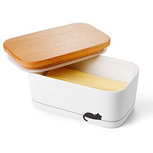 Sweese 303.158 Butterdose Porzellan für 250 g Butter, Holzdeckel mit Silikon-Dichtlippe, Schwarze Katze