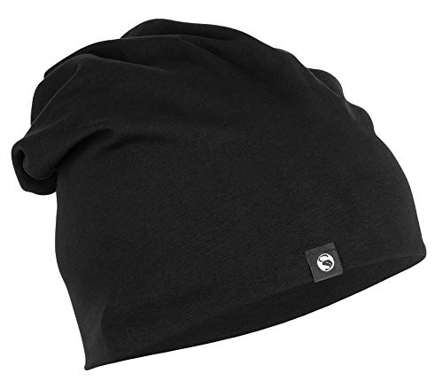 STARK SOUL Slouch Beanie Mütze für Damen & Herren (Unisex), leichte Jersey Mütze, Einheitsgröße in Schwarz