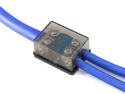 KnuKonceptz Bassik 2 Way Mini ANL Fuse Distribution Block - 1/0 Gauge to 4 Gauge - 80 Amp