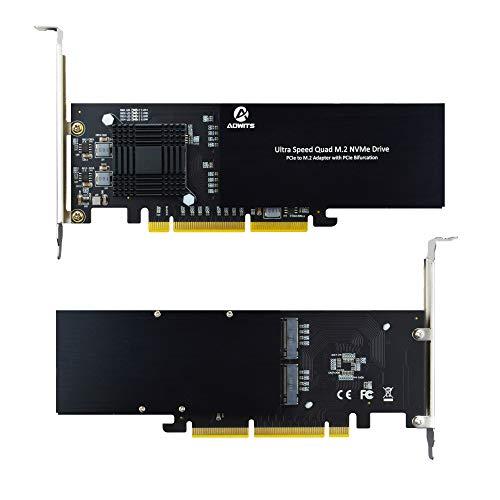 ADWITS Ultra-Speed-Quad-M.2-NVMe-Laufwerk, PCIe-Gen3-M.2-SSD-Adapter mit 16 x 8 x auf 4 Ports und ASM2824-Controller, unterstützt PCIe-Bifurcation-RAID-Formfaktor 2242 bis 22110 - Serverversion