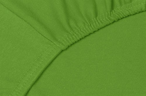 Double Jersey – Spannbettlaken 100% Baumwolle Jersey-Stretch bettlaken, Ultra Weich und Bügelfrei mit bis zu 30cm Stehghöhe, 160x200x30 Grün - 5