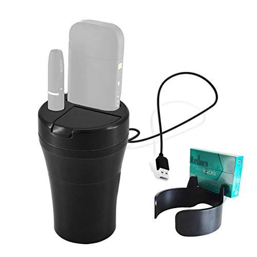 アイコス充電器 iQOS車載 ホルダー チャージャー 両方充電可能 卓上 スタンド 灰皿 iQOS2.4 / iQOS2.4PLUSに対応しております (ブラック)