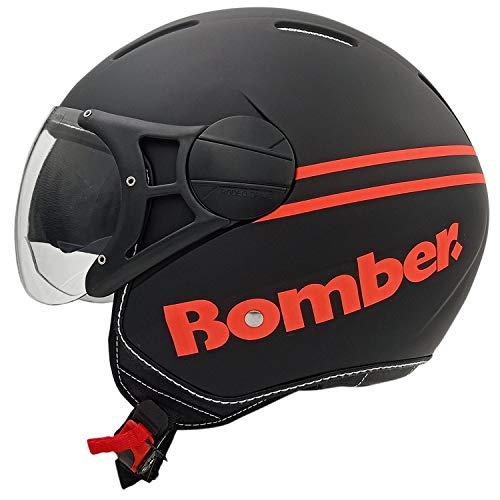 Rodeo Drive RD107N LUX casco scooter moto con visierino da sole, nero -arancione, L
