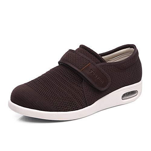 nohbi Hausschuhe Klettschuhe Senioren,Fuß geschwollene Mesh Diabetes Schuhe,Fuß breit Daumen Valgus Pflege Schuhe-40_Kaffee,Fußschuhe Für Diabetes Gesundheitsschuhe