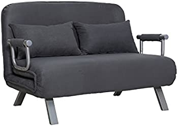 HomCom Small Sofa Couch Futon with Fold Up Bed
