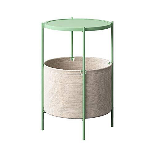 Bedside Tables Round Small Coffee Table Metal Simple Nightstand Sofa Side Snack Rack With Fabric Storage Basket, 38X62CM(Color:green)