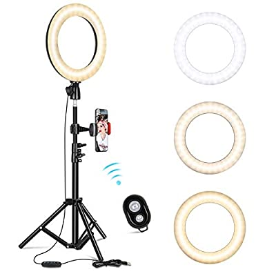"""10"""" Selfie Ring Light with Adjustable Tripod Stand & Phone Holder for Live Stream/Makeup, Dimmable Led Camera Beauty Ringlight for YouTube TikTok/Photography Compatible for iPhone and Android Phone by KMASHI"""