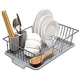 SMEJS Ampliable estante for platos, estante grande placa de secado con el utensilio de la cuchillería Holder, plato Estante for Platos Escurridor estante en el fregadero o en el contador con el utensi