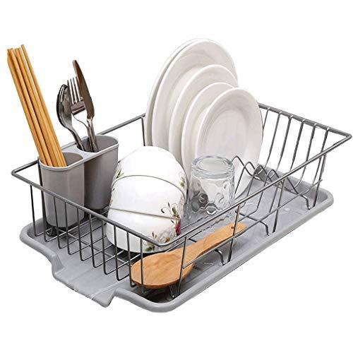 WALNUTA Ampliable estante for platos, estante grande placa de secado con el utensilio de la cuchillería Holder, plato Estante for Platos Escurridor estante en el fregadero o en el contador con el uten