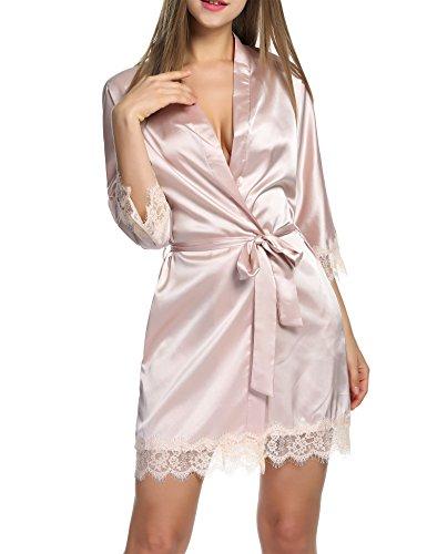 BeautyUU – Albornoz para mujer, satén sexy, kimono con bolsillos, corto, túnica con cinturón, camisón de noche para novia con encaje de flores 1 a Champán. S