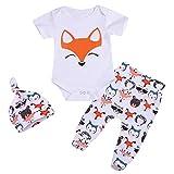 Geagodelia 3tlg Babykleidung Set Baby Jungen Kleidung Outfit Body Strampler + Hose + Mütze Neugeborene Kleinkinder Weiche Babyset Tier (0-6 Monate, Fuchs (Weiß 764 - Kurzarm))