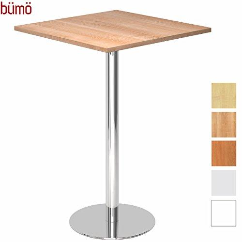 bümö® Stehtisch mit Chromsäule | Bartisch | hochwertiger Bistrotisch | Säulentisch in 2 Formen und 7 Dekoren (Platte: eckig-Ø 80cm, Nussbaum)