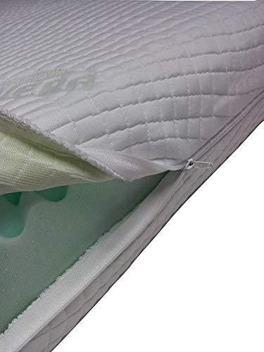 Mail2Mail Fodera Materasso Matrimoniale 190x200, Spessore da 5 cm, Fino a 25 cm,con Cerniera 4 Lati, sfoderabile Lavabile,Tessuto Aloe Vera,Anallergico,Traspirante antiacaro