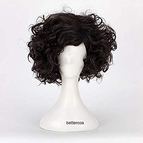 Pelucas de cosplay Jon Snow Peluca de pelo sinttico resistente al calor negro corto + gorro de peluca