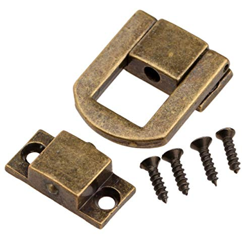 Door Cabinet Padlock Hasp Stainless Steel Padlock 1Pc Antique Bronze/Gold Jewelry Chest Wine Wooden Box Case Toggle Latch Hasp Leather Bag Handbag Purse Lock w/Screw 25x20mm (Color : Antique Bronze)