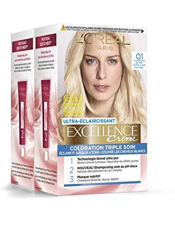 L'Oréal Paris - Excellence Crème - Coloration Permanente Triple Soin 100% Couverture Cheveux Blancs - Nuance 01 Blond Ultra Clair Naturel