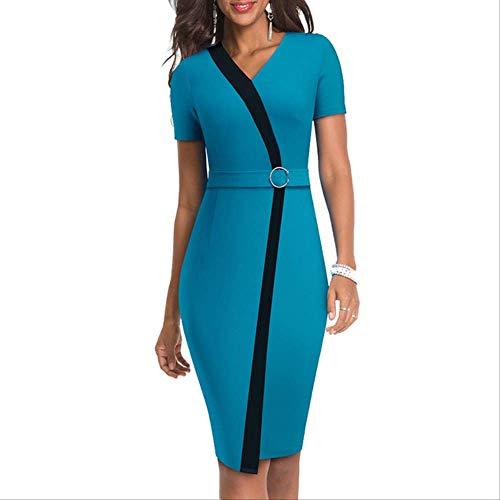 QUNLIANYI Abendkleid Abiballkleid Sommer Frauen Patchwork Kleid Elegante Arbeit Büro Kurzarm Hülle Schlankes Bleistiftkleid S Türkis