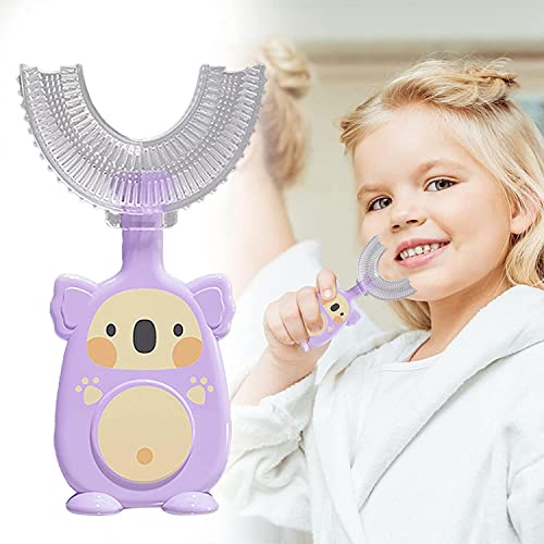 Children's U-Shape Toothbrush for 360° Thorough Cleansing Manual Training Tooth Brush - Food Grade Soft Silicone Brush Head for Toddlers and Children