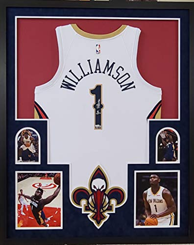Zion Williamson New Orleans Pelicans Autograph Signed Custom Framed NBA Licensed Swingman Jersey White Suede Matting Laser Cut Logo Fanatics Authentic Certified