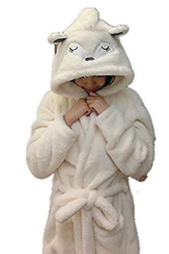 Mystery&Melody Kinder Einhorn Bademantel Flanell Mit Kapuze Süss Schlafanzug Cosplay Kostüme Tiere Ankleiden Unisex (M:157-166CM, Fox)