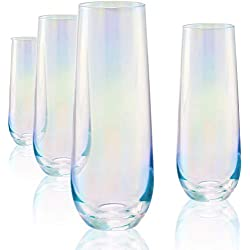 Circleware Radiance White Pearl Luster Stemless Champagne Flutes Glasses Set of 4 Elegant All-Purpose Wine Drinking Glassware Beverage Cups for Water, Juice, Beer, Liquor, Whiskey & Bar Decor, 10.5 oz