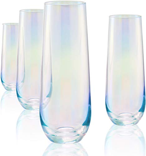 Circleware Radiance White Pearl Luster Stemless Champagne Flutes Glasses Set of 4 Elegant...