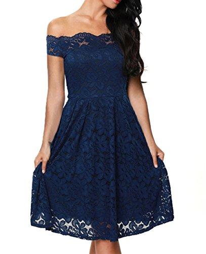 TOUVIE Damen Elegant Abendkleid Cocktailkleid Schulterfreies Knielang Festlich Kleider Spitzenkleid Blau S